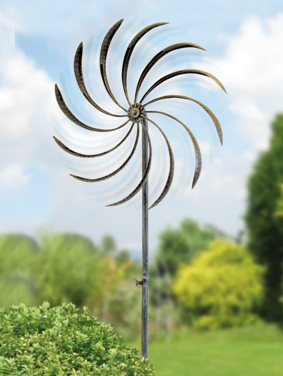 Ideal Wetterfeste Gartenstele ueWindm hle ud aus lackiertem Eisenblech Bereits bei einer leichten Brise dreht sich dieses imposante Windrad im Wind