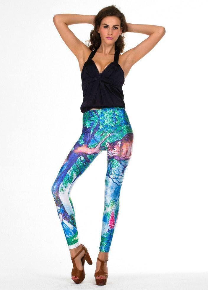 Women Ladies Galaxy Space Printed Leggings Tights Skinny Faux Leather Look Pants