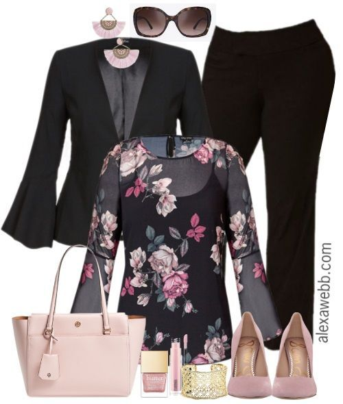 Plus Size Floral Top Work Outfit + Giveaway - Alexa Webb