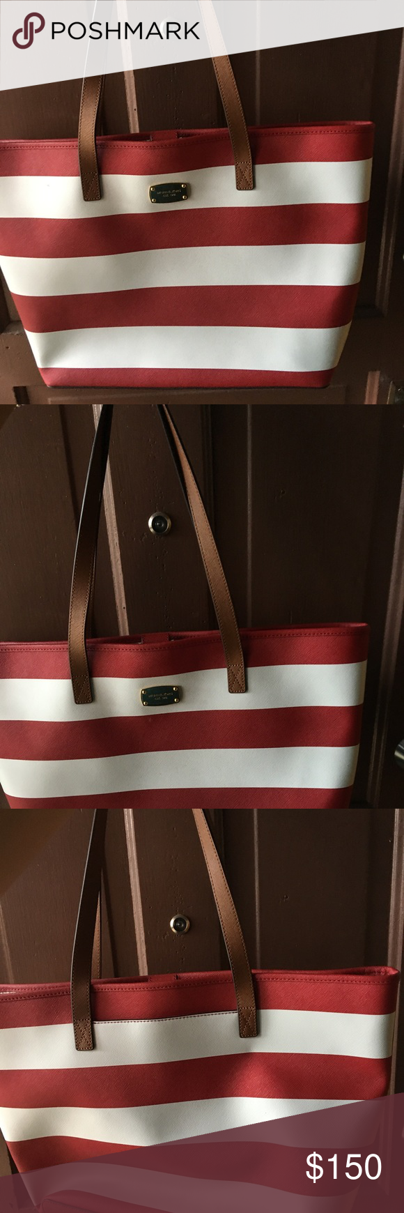 2f54032ee44f New Michael Kors Striped Tote -Real saffiano leather, striped interior, logo  plaque; gold tone hardware. Never been used! Michael Kors Bags Totes