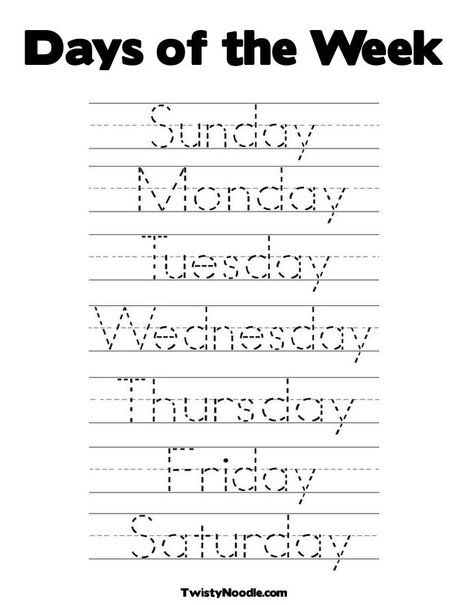 Days of the Week Coloring Page from