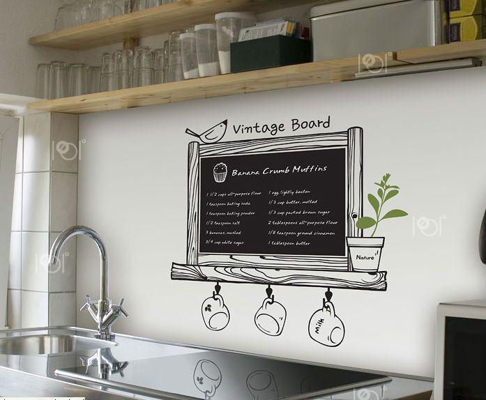 Parete Di Lavagna In Cucina : Foto cucina con contrasto bianco nero a parete pittura lavagna