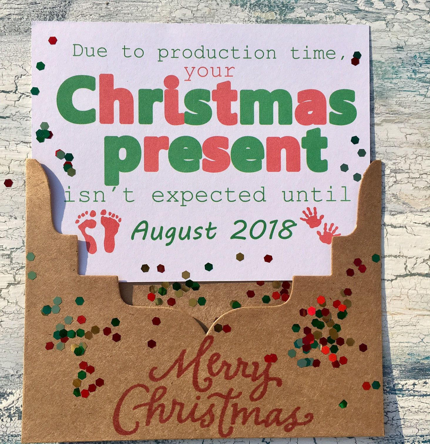 Christmas Pregnancy announcement card Christmas pregnancy reveal ...
