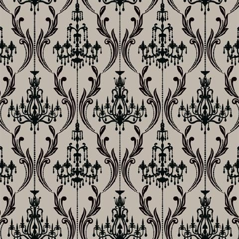 Glitter Chandelier Wallpaper From Black And White Damask