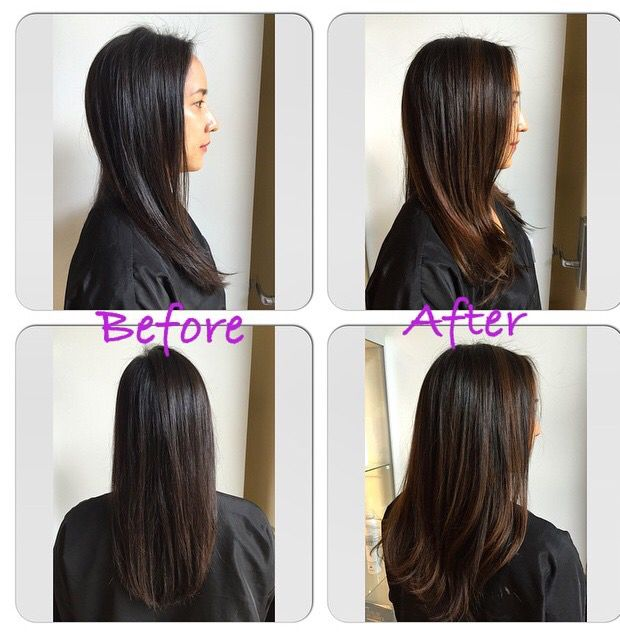 balayage , black / dark brown Asian hair gets highlights