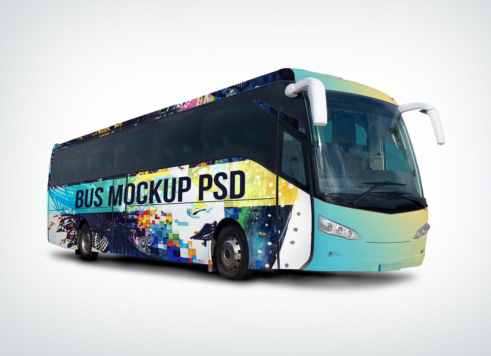 Free Vehicle Branding Travel Bus Mockup Psd Mockup Psd Bus Advertising Bus