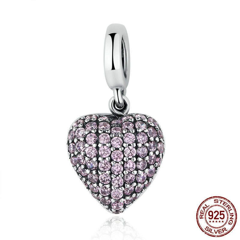 Ciondolo Dolce Amore con pavè di zirconi rosa bead charm adatta a misure Pandora charm pandora bead e braccialetto europeo CC123 di OceanBijoux su Etsy