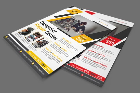 Computer Repair Flyer by designsoul14 on @creativemarket - computer repair flyer template