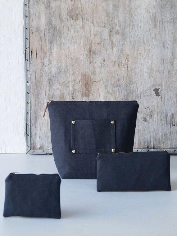 Zipper pouches. Dark canvas makeup bags. Women, men fashion accessories. Modern cosmetic bag. Pencil case. Coin purse. Handmade Etsy