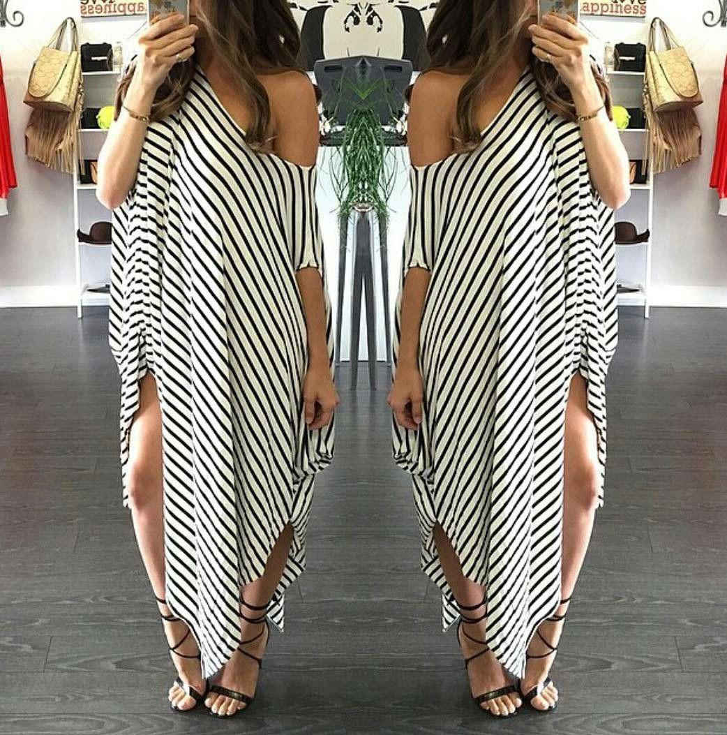 Plus size striped batwing sleeve offshoulder split asymmetric maxi