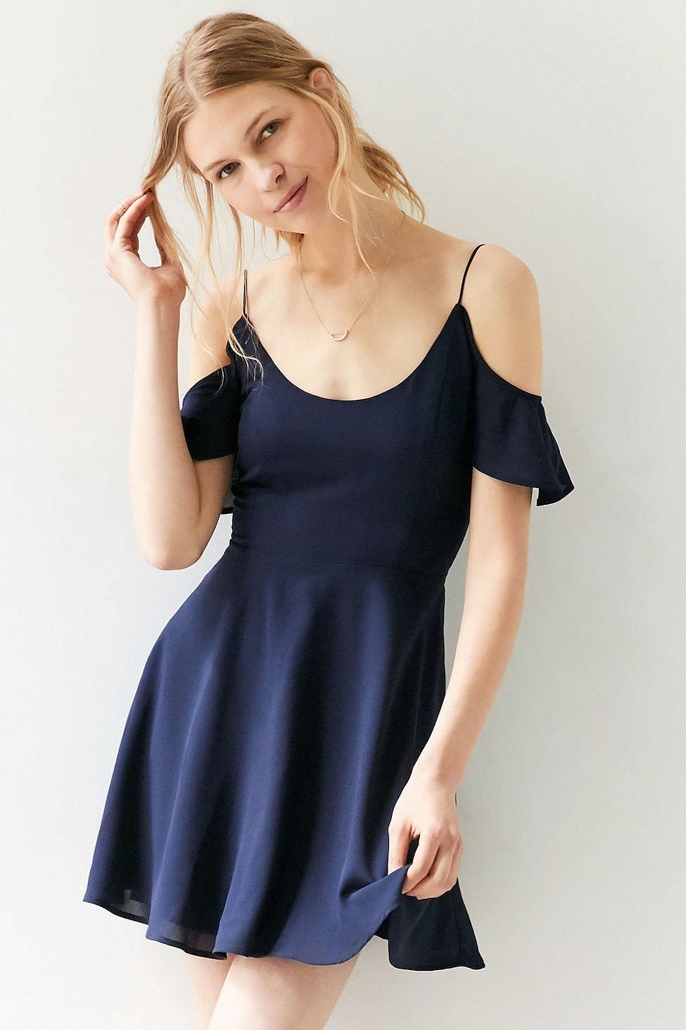 Kimchi blue cold shoulder fit flare dress pinterest fit flare