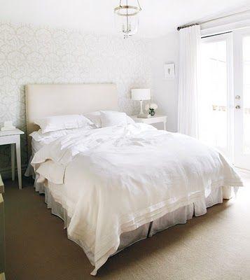 subtle beige + white - love the wallpaper!