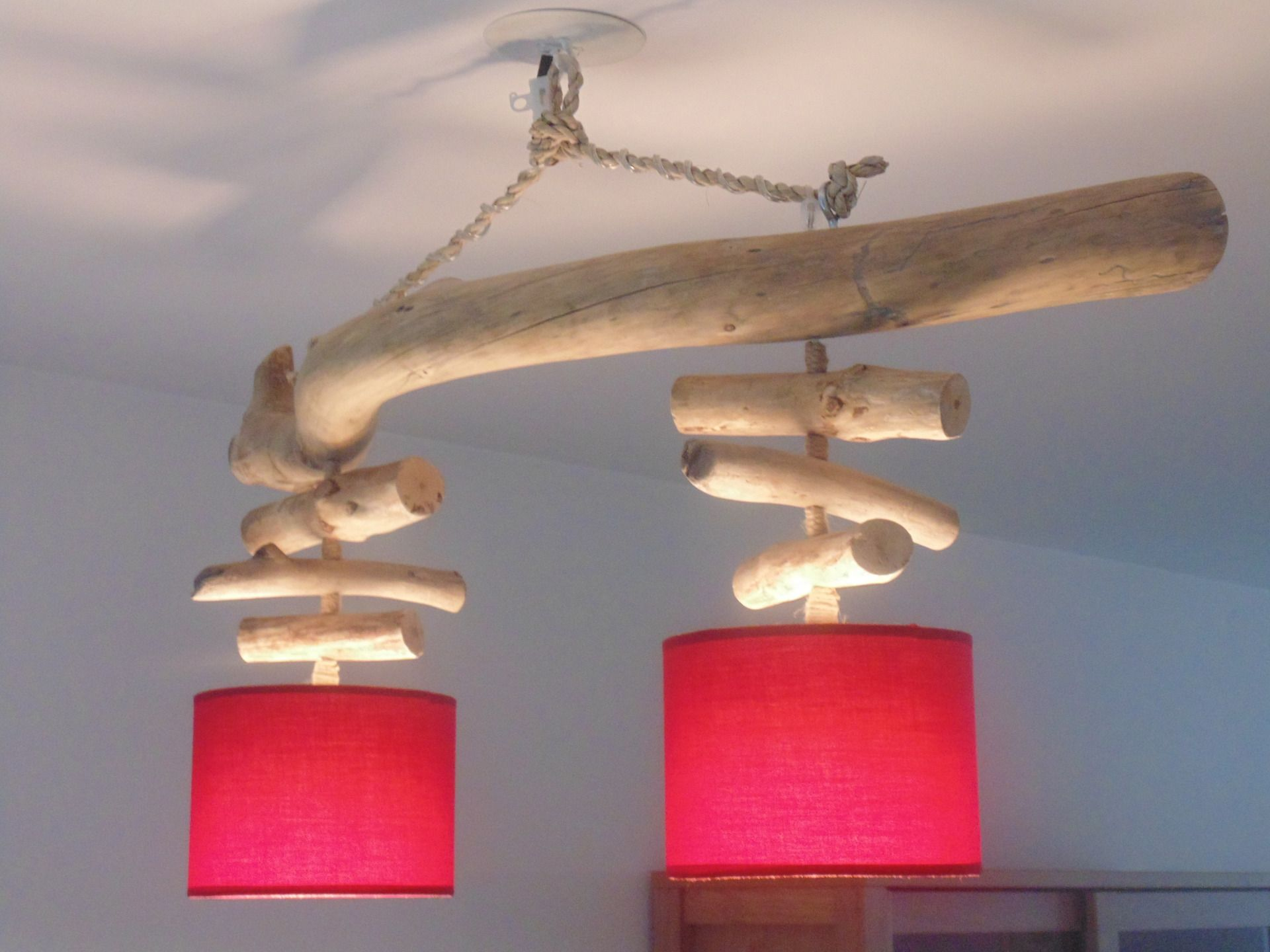 lustre plafonnier en bois flott rouge 20 cm cr ation. Black Bedroom Furniture Sets. Home Design Ideas