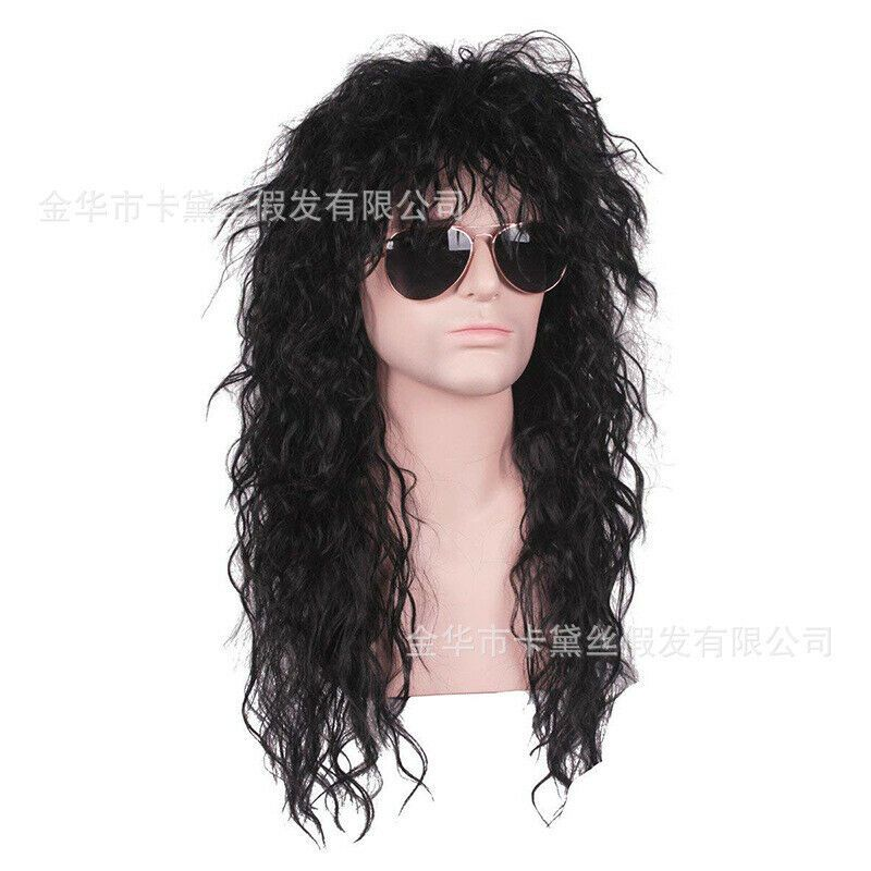 Men Hippie Style Long Curly Movie Anime Cosplay Halloween Black Wigs Wig Cap Ad Sponsored Long Curly Movie Diy Wig Pop Culture Halloween Costume Wigs