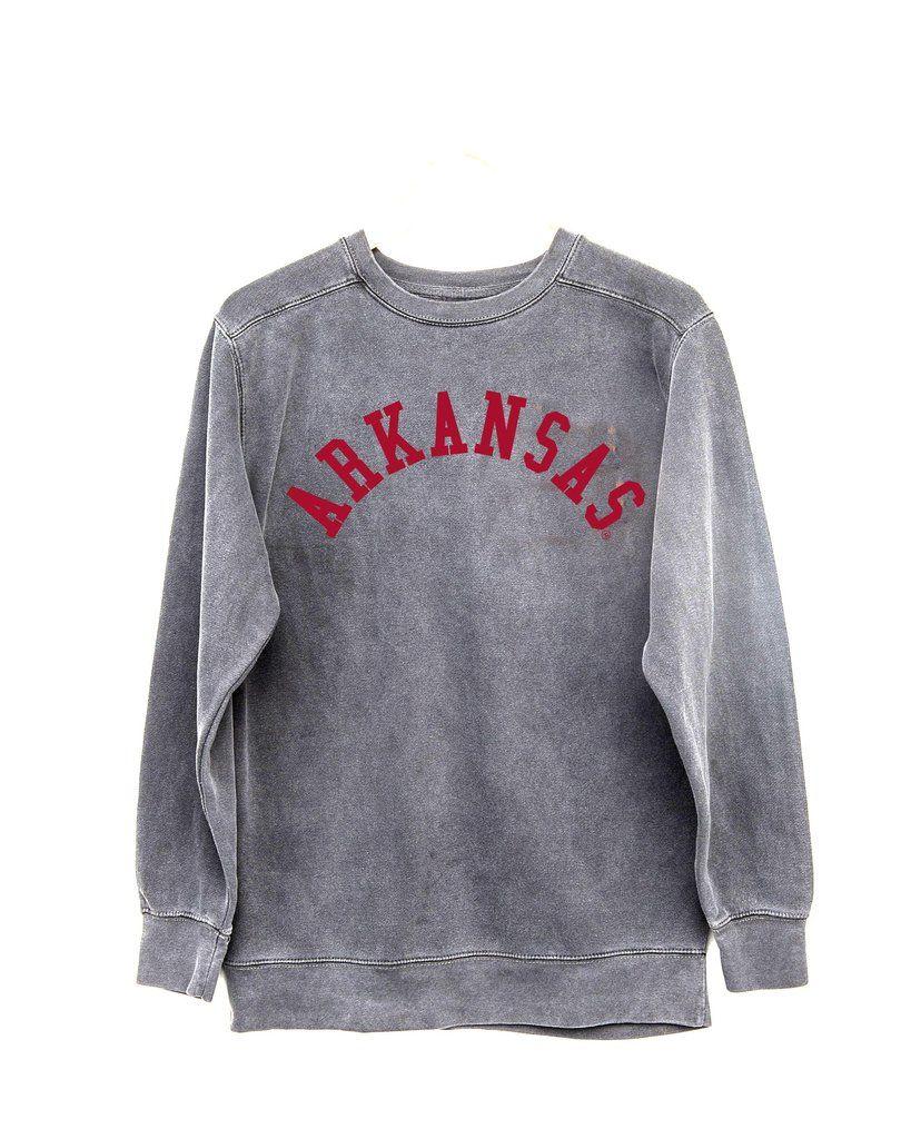 Arkansas Flocked Gray Comfort Colors Sweatshirt Sweatshirts