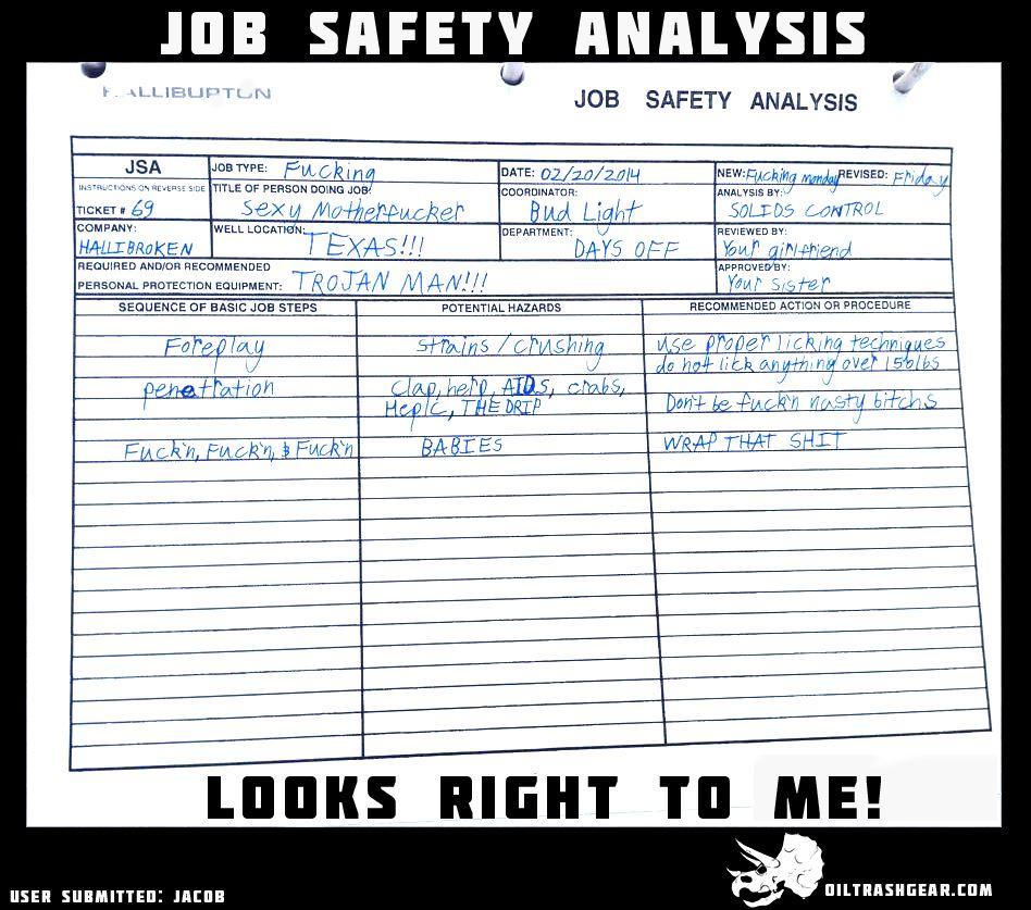 Job Safety Analysis check! Oilfield Funny Oilfield