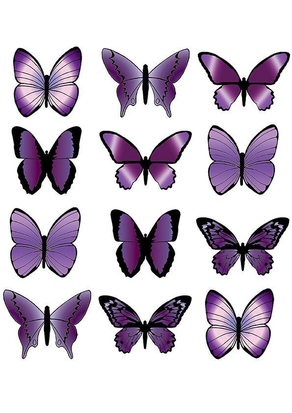 12 X Large Purple Butterfly Edible Cup Cake Toppers Party Wedding