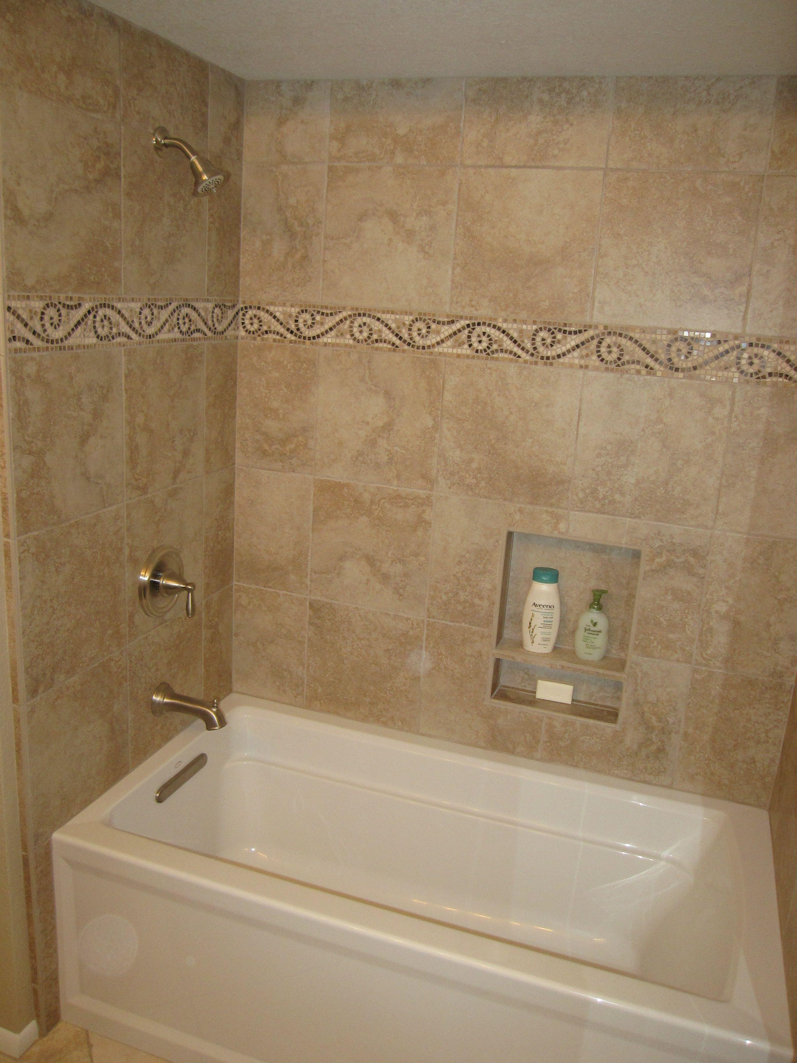 Hall Bath Acrylic Soaking Tub With Tile Shower Surround