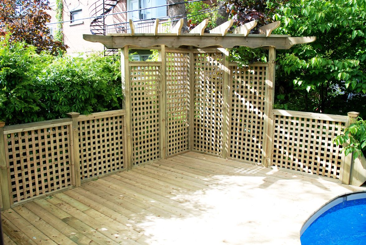 Covered deck pergola area for deck for above ground pool for Decoration pour patio