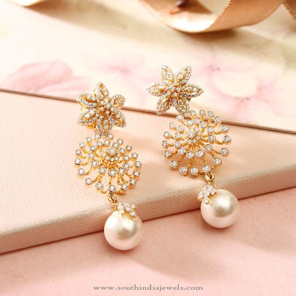 Diamond Fancy Earrings with Pearls. #diamonds #pearl #fancyearrings
