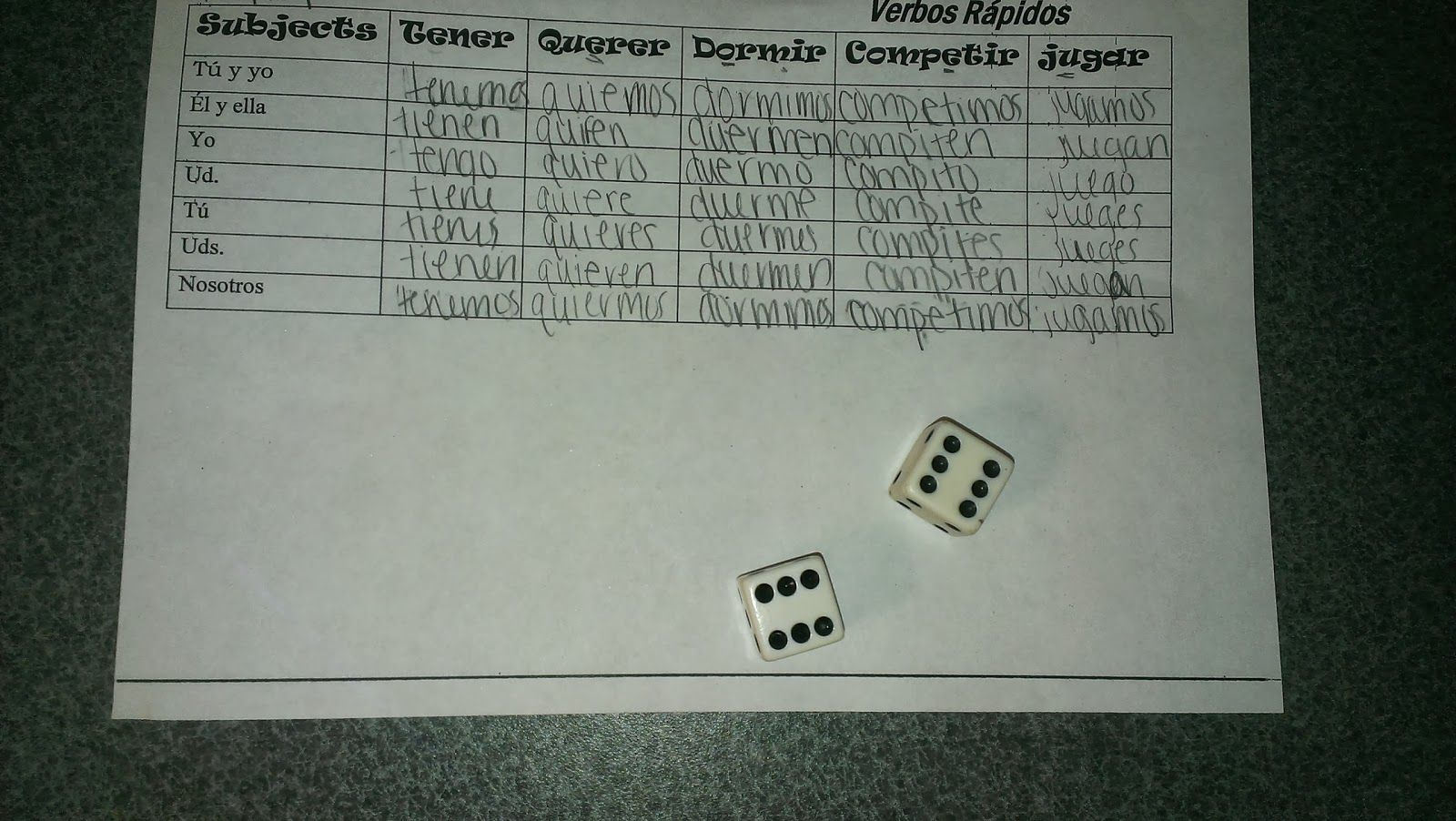 Tales from a Spanish Teacher: Rapid Verbs -- groups of 4 get 3 dice ...
