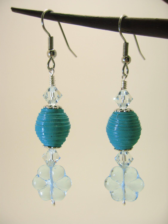Turquoise paper bead earrings. $15.00, via Etsy.