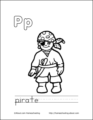 My P Book Pirate Coloring Page
