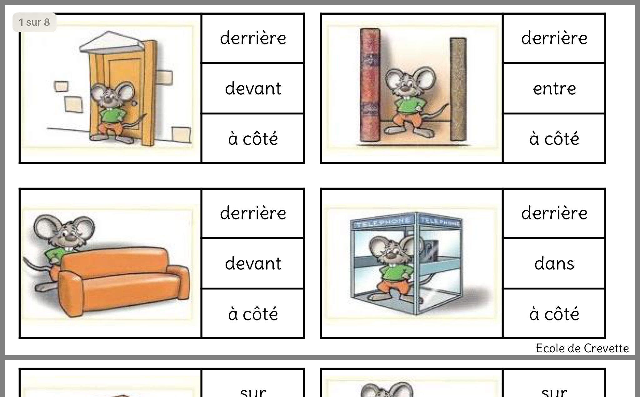 Worksheet On French Prepositions