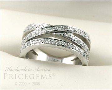 Style 3851 1 Carat 3strand Band Wedding Ring Platinum Wedding
