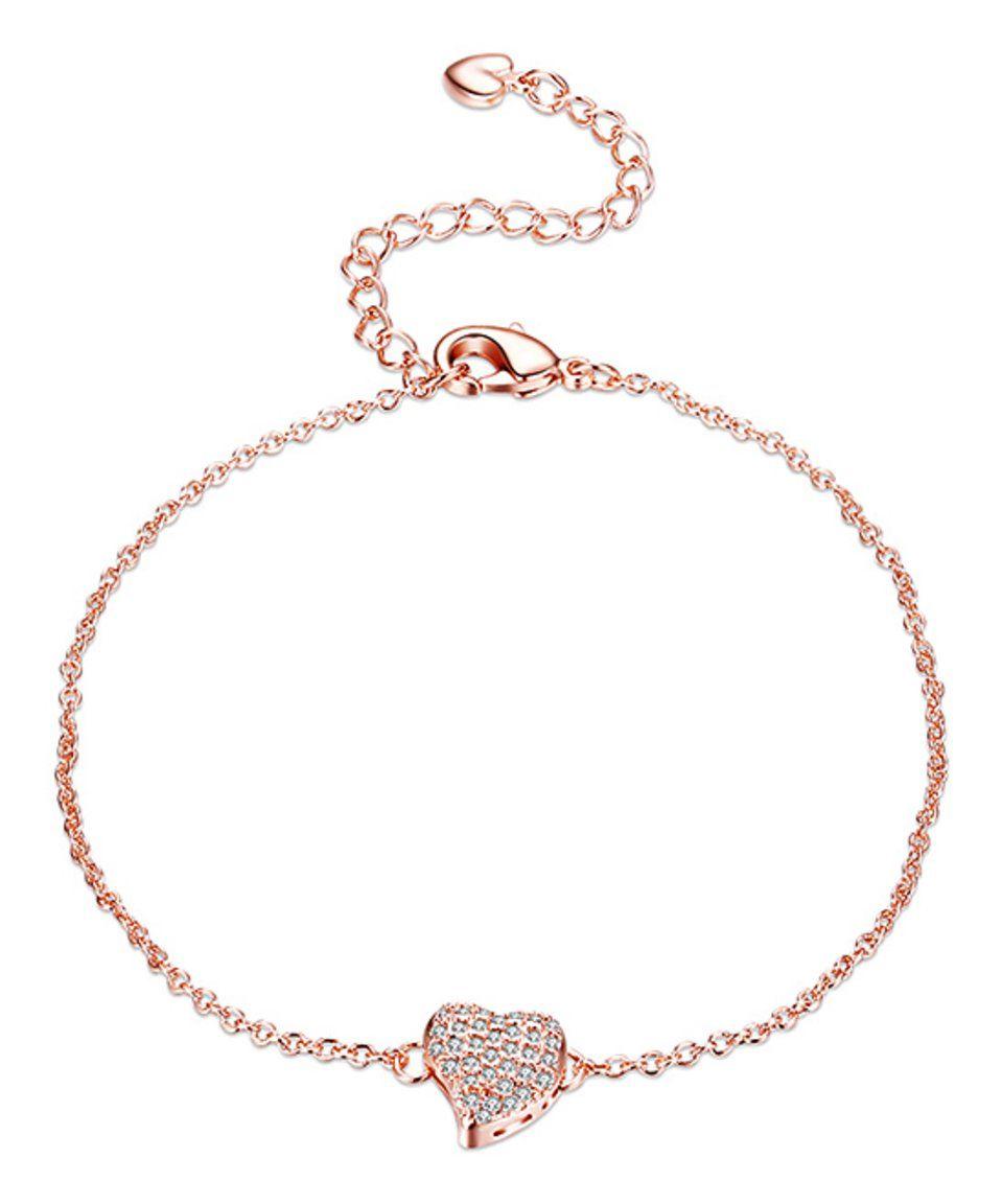 Rose gold pave heart bracelet with swarovski crystals mädchenkram