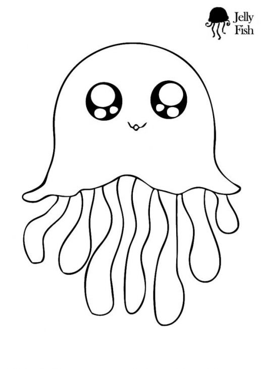 Jellyfish Animal Coloring Pages. This is the cutest jellyfish coloring page ever  Kids will love in this free