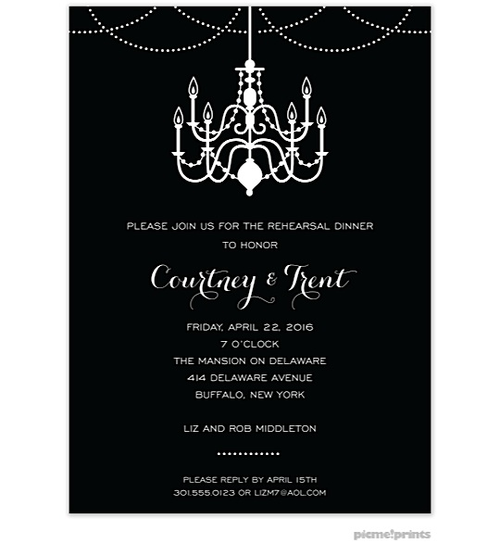 Black and White Party Invitations chandelier Party Ideas