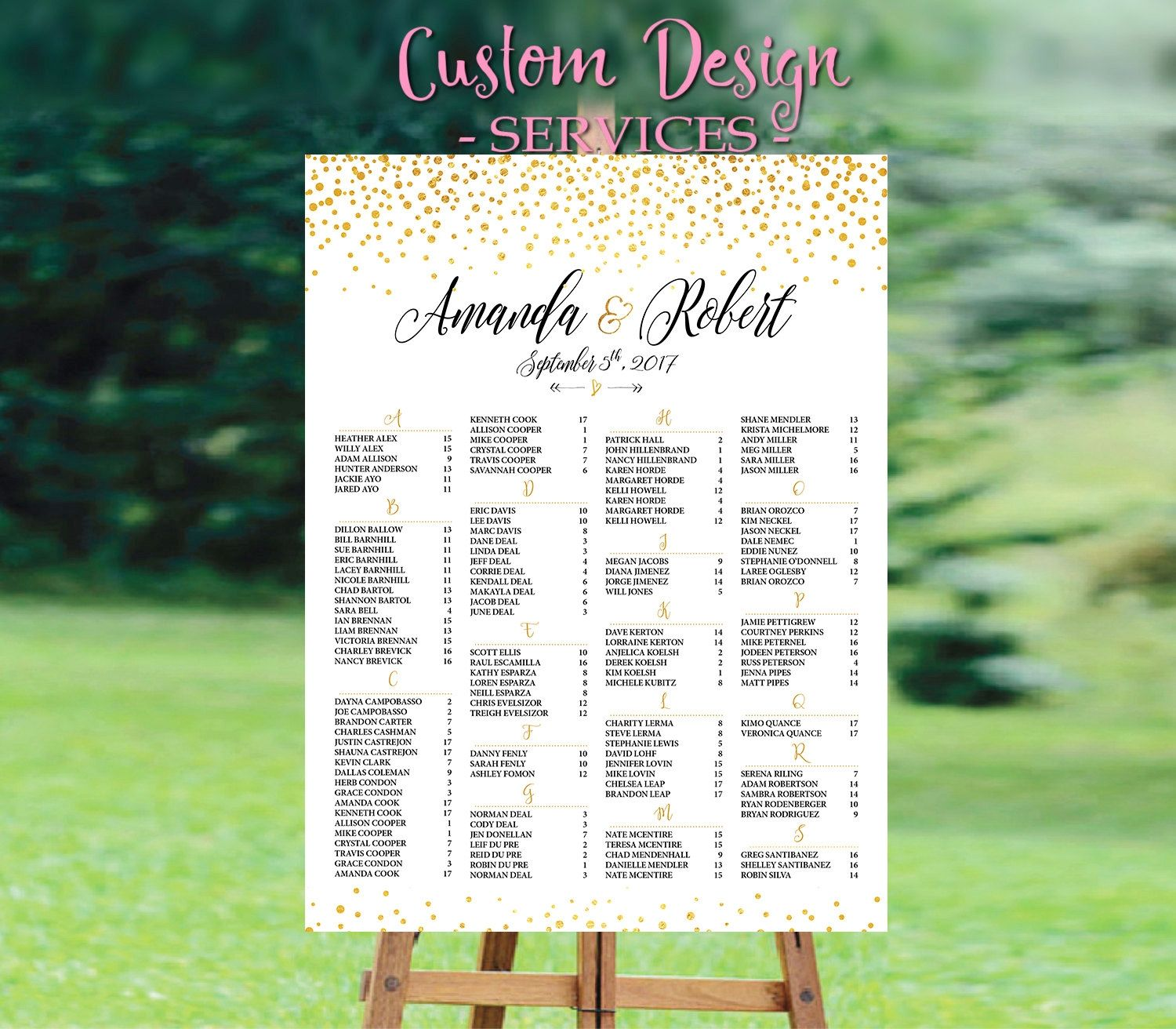 wedding seating chart template  wedding seating chart poster  wedding seating chart alphabetical