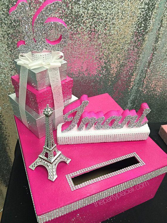Paris Theme Sweet 16 Card Box Gorgeous Eiffel Tower And Box