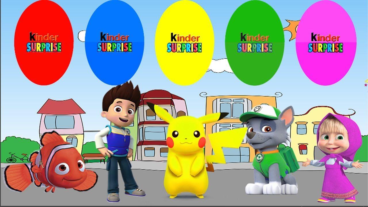learn colors with nemo masha  pokemon  ryder paw patrol