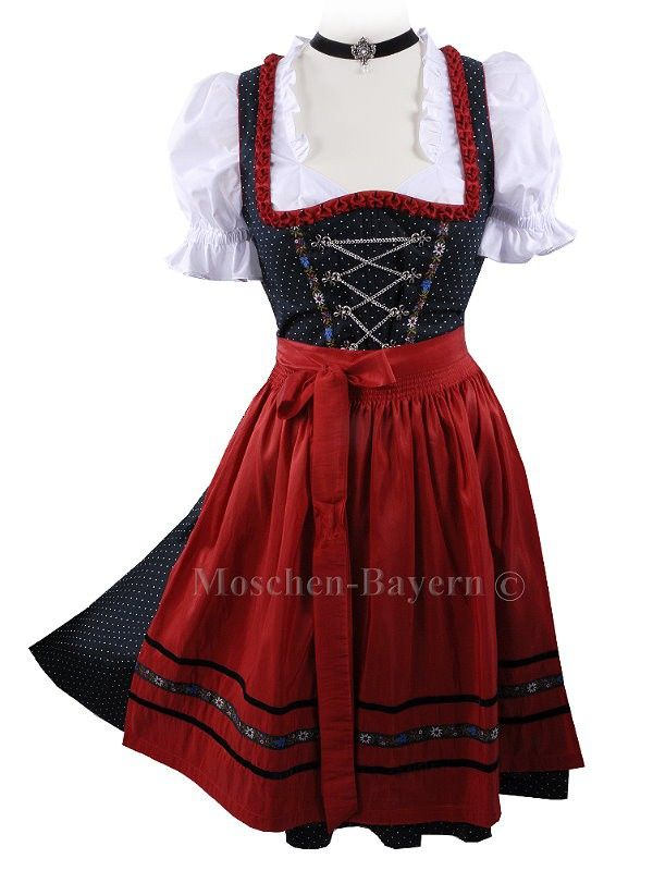 1708807a4aa67 Mini-Dirndl Black   Red - Set of 3 pcs with Blouse