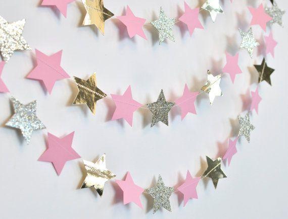 Babypartys Twinkle Pink und Gold Twinkle Twinkle Little Star, Papiergirlande, B …