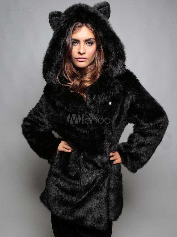 Fur Coat Faux Fox Coats, Oversized Faux Fur Coat With Hood