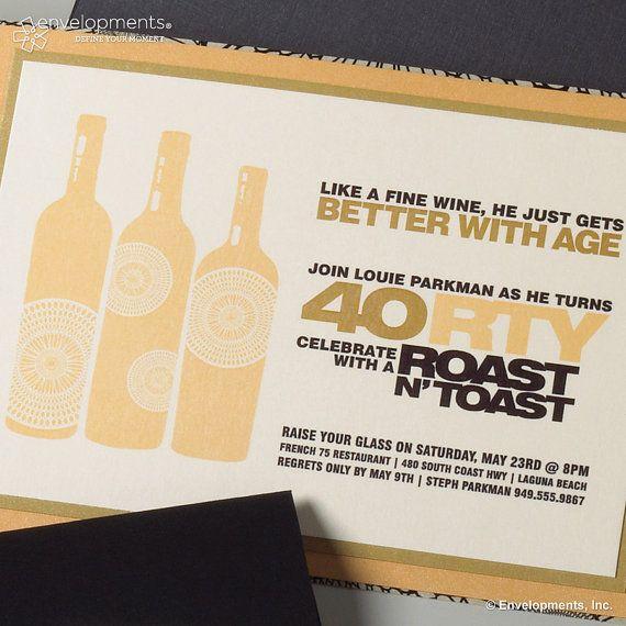 Roast N Toast Birthday Invitation 40th Birthday By Suitepapertoo