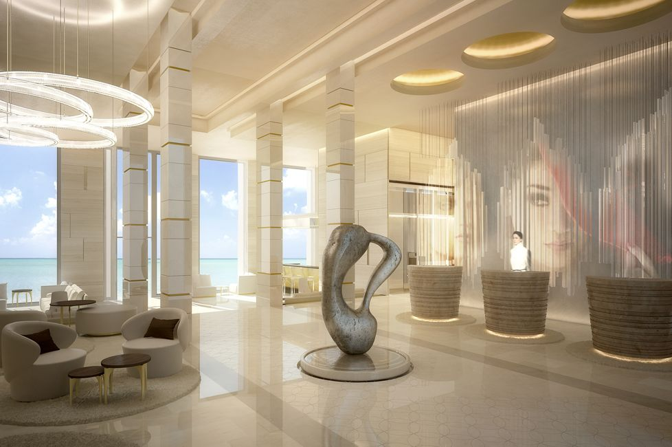 Hotel lobby kinetic light sculpture reception pods for Dubai hotel interior design
