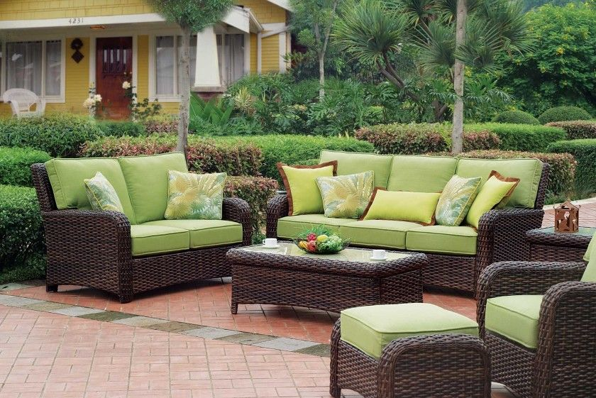 Stunning Outdoor Resin Wicker Furniture Set Features Light Green Fabric Upholstery Seat Ottoman Bench And Dining Sofas Also Rectangle
