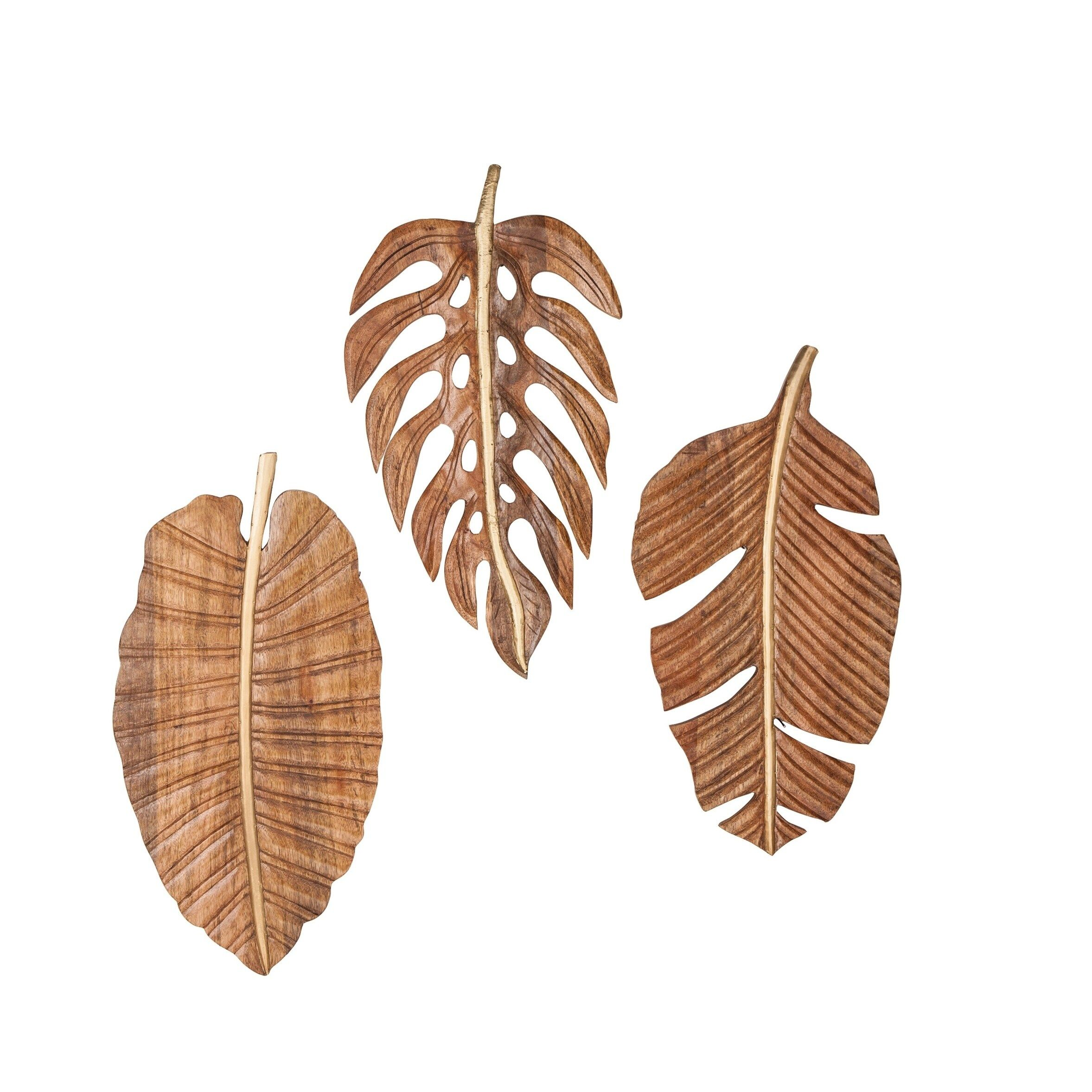 Carved Wood 12 X 24 Inch Leaf Wall Art Set Of 3 By Studio 350 Brown Leaf Wall Art Carved Wall Art Carved Wood Wall Art