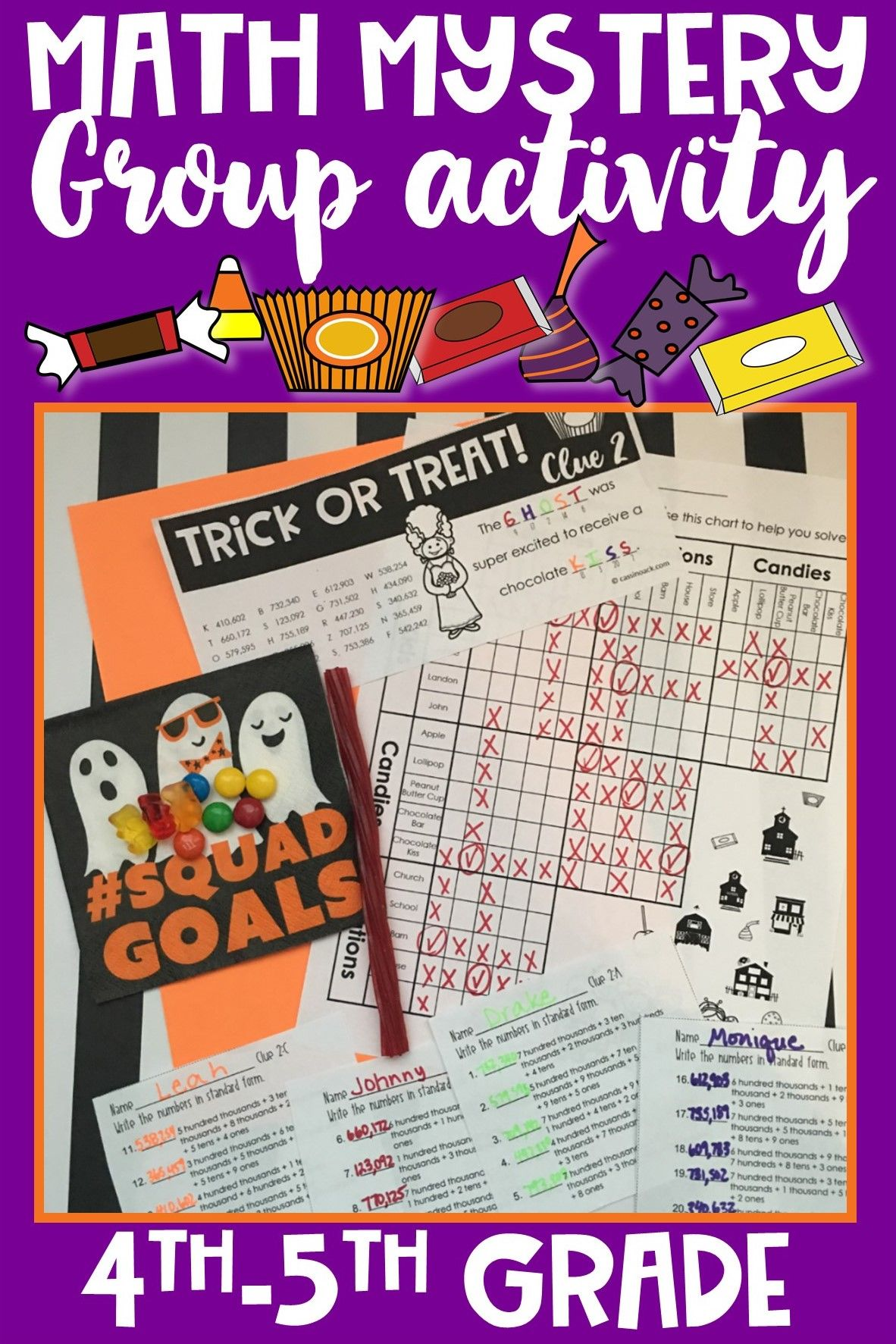 Halloween Math Worksheets for a SUPER FUN Mystery! GROUP