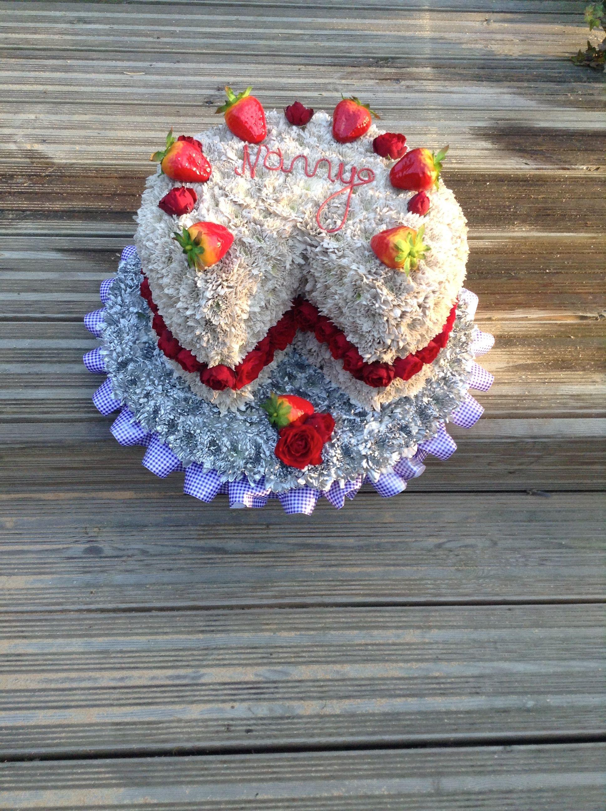 Cake Funeral Flower Tribute Victoria Sponge Made In Flowers