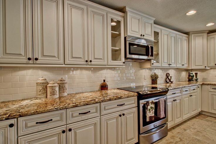 White Cabinets With Antique Mascarello Counter Top Google Search My Inspiration For Our Kitchen Even Has Subway Tiles As Backsplash Cream Colored Kitchen Cabinets Kitchen Cabinets Decor Kitchen Cabinet Colors