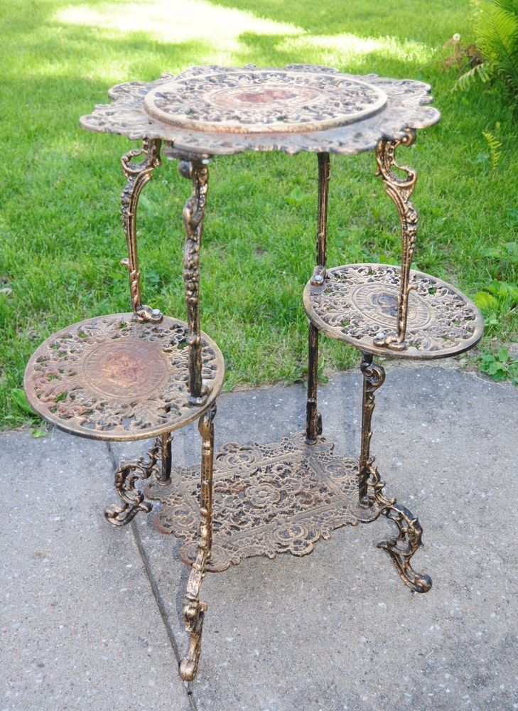Rare Large Tall Vintage Cast Iron Cherub Victorian Plant Stand