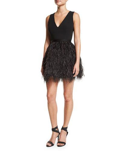TAVDX Alice + Olivia Kiara V-Neck Feather-Trim Bell Dress, Black