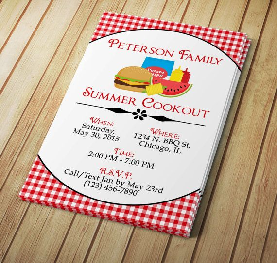 Cute Summer Time Microsoft Word Invitation Template For A Bbq Or