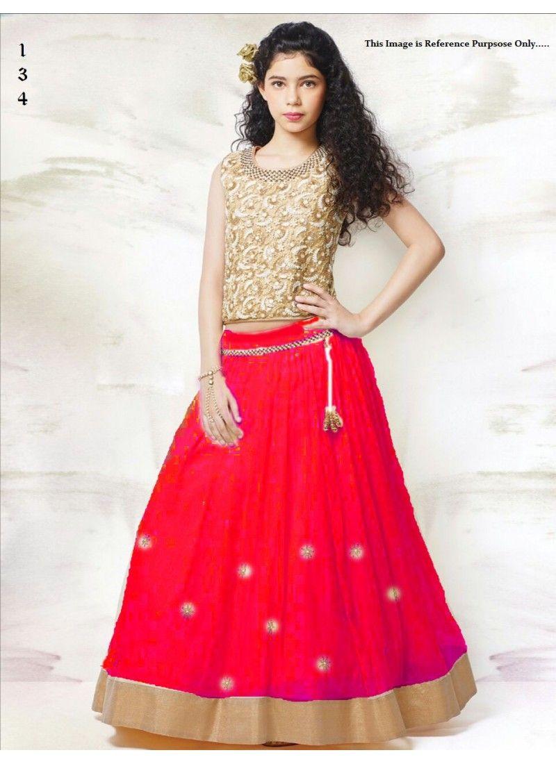 ed8009063a Kids Wear Designer Net red Lehenga For 5 to 15 year Girls   Lahenga ...