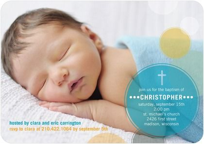 Beautiful and Bubbly Aqua Baptism Christening Invitations in – Madison Wi Birth Announcements